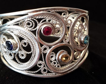 Woman Sterling Silver & Gemstone Cuff Bracelet, Sterling Silver Cuff Bracelet, Sterling Silver Filigree Cuff Bracelet,