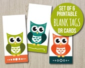 Printable Blank Tags Owl Design - Set of 6 cute owl cards in teal, orange and green - great to include with orders, party favors or presents