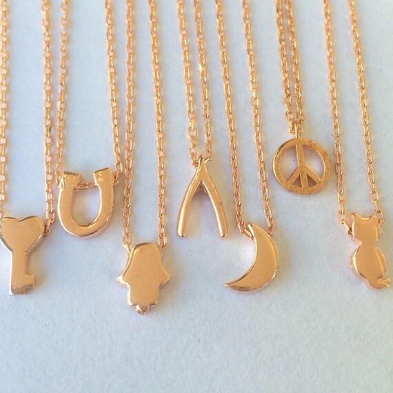 Mini charm necklaces • Tiny cat necklace • Key • Hamsa • Wishbone • Peace sign • Moon