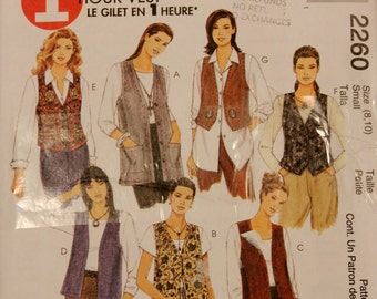 1999 Sewing Pattern, MCCALLS 2260. US Size 8-10. 8 Variations of Vest / Waistcoat.
