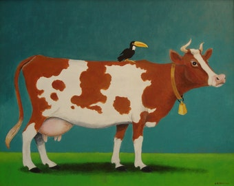 Humorous Cow with Bird on his back.  Whimsical Print of Original Acrylic Painting already sold.