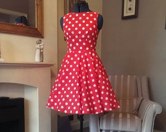 Red/ White Polka Dot Dress UK 10