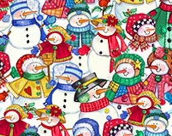 Let It Snow - Packed Snowmen Fabric