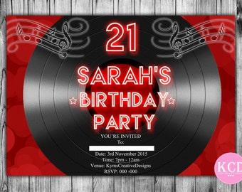 Birthday Vinyl Record - printable Birthday Party - Record Invite Style 03