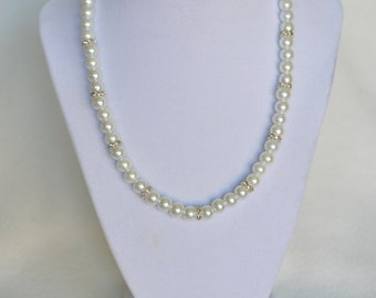 Chunky Pearl and Rhinestone Necklace