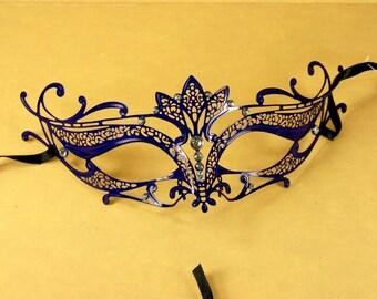 ROYAL Blue Mardi Gras VENETIAN MASQUERADE Mask Laser Cut metal w/ Rhinestones