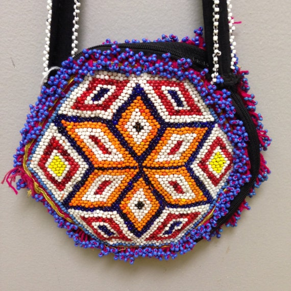 Purse Middle Eastern Double-Side Beading Kuchi Handmade Art Hand Beaded Colorful Beads Shoulder Purse Bag Gift for Her One of a Kind Tribal
