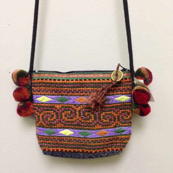 Chinese Purse Hmong Embroidered Purse Hill Tribe Handmade Colroful Shoulder Bag Purse Hand Woven Gift for Her Tribal