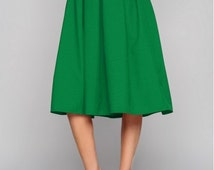 Green midi skirt  Midi skirt  Woman skirt Business woman Folds skirt Spring Summer Skirt