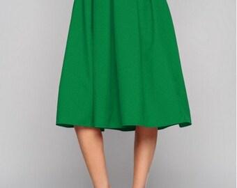 Green midi skirt  Midi skirt  Woman skirt Business woman Folds skirt Spring  skirt Summer Skirt Autumn green skirt