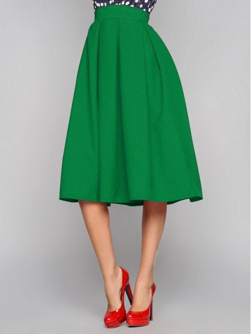green midi skirt midi skirt skirt business folds