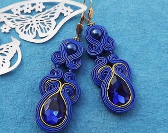 Shapire , Gold & Crystal flash soutache  earrings