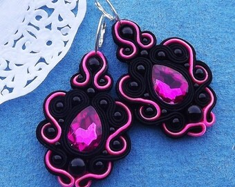 Black and NEON PINK Soutache Earrings