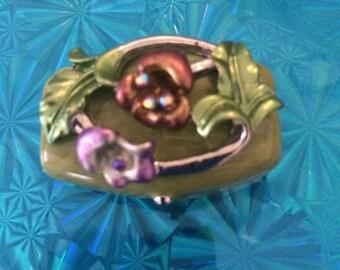 Vintage Enamel Rhinestones Floral Design  Pill/Trinket Hinged Pill Box, Muticolor Magnetic Closure