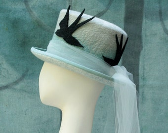 Swallow Bird Top Hat - Top Hat - Blue Top Hat - Swallows - Ladies Top Hat - Victorian Top Hat - Top Hat with Tulle