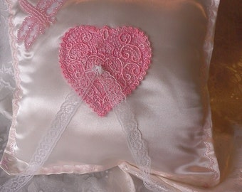 Pearl dragonfly heart pink embroidered on Ivory satin Wedding ring pillow