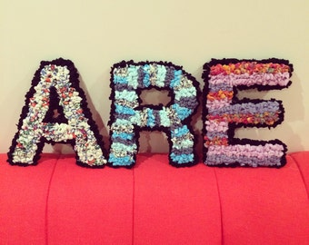 Eco-Friendly Rag Rug Letters