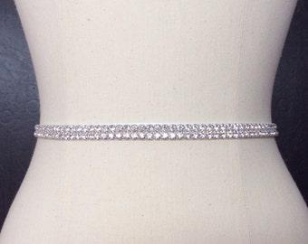 Bridal Belt, Rhinestone Belt,Thin Bridal Sash, Rhinestone Wedding Belt, Silver Bridal Belt, Bridesmaid gift, Best Friend Bridal 112S3