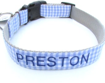 Blue Gingham Print Dog Collar- matching leash and personalized name embroidered available
