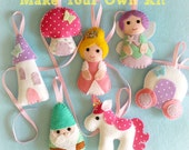 Make Your Own Felt Fairytale Collection Kit. Fairy decorations. Princess decor. Sewing pattern