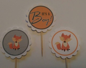 Baby Shower - It's a Boy and Fox themed cupcake toppers