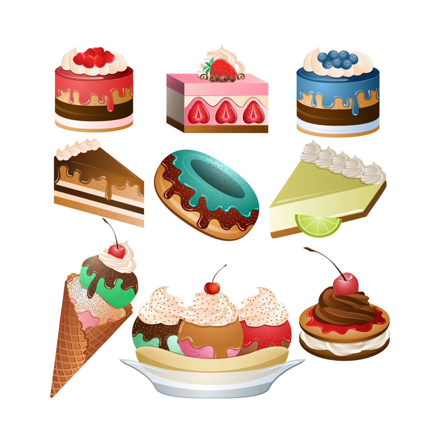 Desserts ClipArt Set of 9 PNG JPG and Vector Desserts