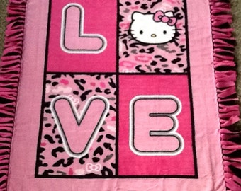 Hello kitty love fleece tie blanket, reversible blanket blanket