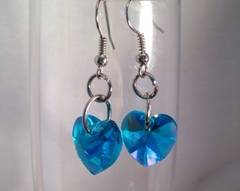 Blue dangle earrings, heart earrings, aqua earrings, blue earrings, blue bead earrings, blue heart earrings, beaded earrings