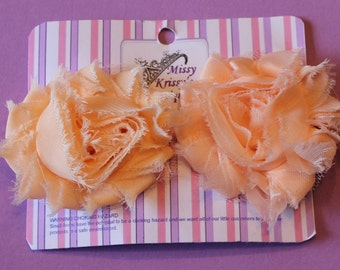 Peach Shabby Chic Flower Hair Bow Hair Clips