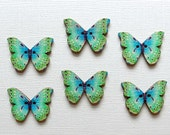 6 Wooden Butterfly Buttons