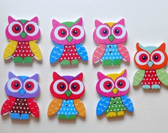 7 Wooden Owl Buttons - #SB-00061