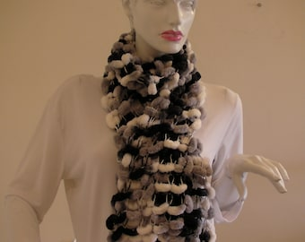 Colorful Elegant Scarf. Black White  and Grey Scarf .Soft Light Weigt Nech Warmer.Handknit Cowl