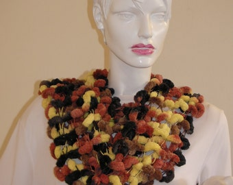 Colorful knitted scarf. Yellow Brown Black Neck Warmer ,Super Bulky light weight .