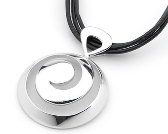 Sterling Silver round barrel swirl, surf pendant necklace
