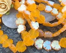 SALE - 10 Czech Glass Yellow Maple Leaves, Glass Leaf Beads, Matte Yellow, 10x13mm (LF-03)