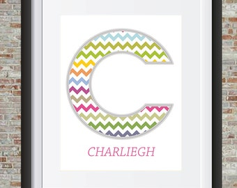 Baby Name Initial Wall Art--Customizable Digital Print