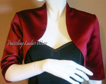 Burgundy/Dark Red Satin Bolero / Shrug / Cropped Jacket Fully Lined - UK 4-26/US 1-22 3/4 Sleeves - Formal/Wedding/Bridal