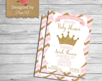 baby shower Invitation, princess baby shower, pink and gold crown invitation, printable, shabby chic, baby pink, chevron invite