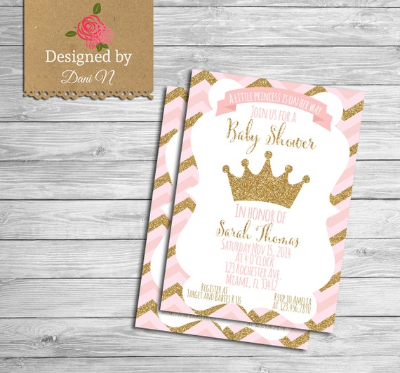 baby shower Invitation princess baby shower pink and gold crown