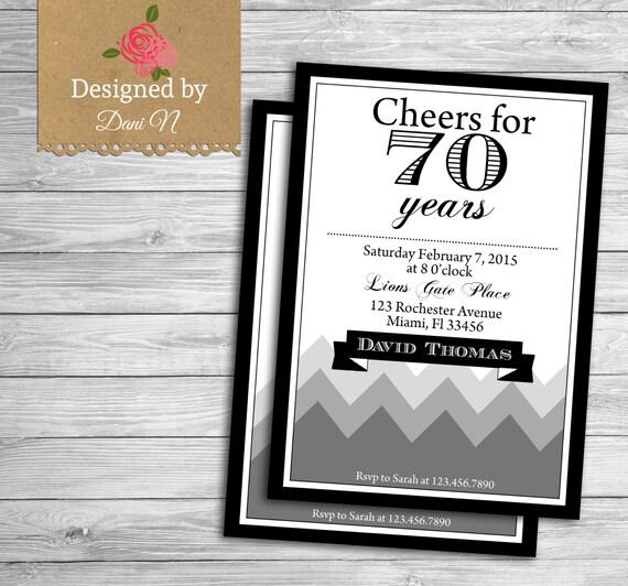 Adult Birthday Invitation 70 Years Birthday 70th 80th