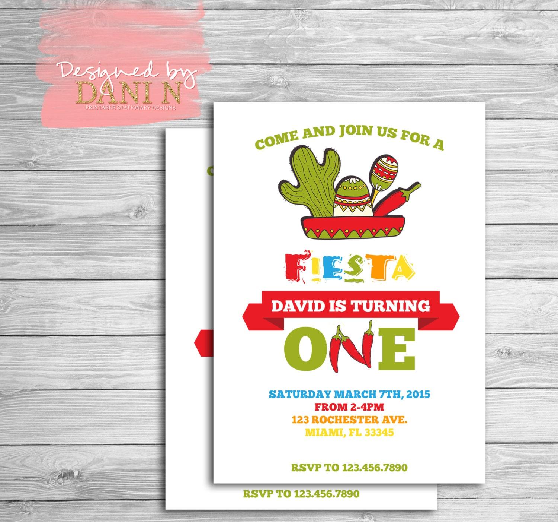 Fiesta Birthday Invitation Tacos birthday party Cactus 2nd