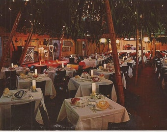 Hawaiian Cottage Theatre and Restaurant, Cherry Hill, New Jersey, Hawaiian Room, Polynesian Cuisine, Vintage Picture Postcard