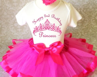 Birthday Princess Crown Hot Pink 2nd Two Second Shirt & Tutu Set Girl Outfit Party Toddler Headband Custom Size Cake Smash