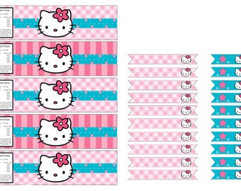 Hello Kitty Water Bottle Labels and Straw Flags, Instant download
