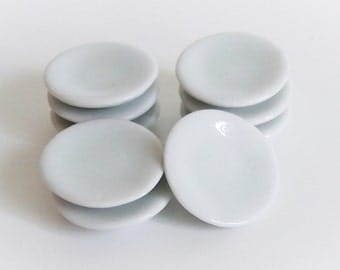 Set of 2 Miniature Ceramic Doll Dishes Plates - ITEM# FM020, G-2A