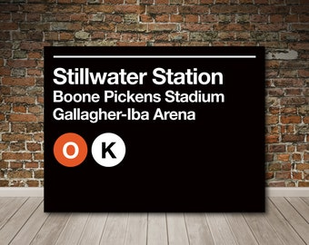 Stillwater Sports Venues Subway Sign Gallery Wrapped Canvas