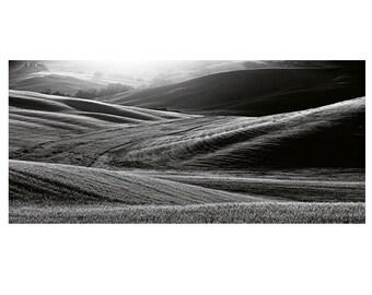 Black and White Italy photography, italian landscape, Tuscany landscape, Fine Art Panoramic Landscape. Hills in Tuscany, panoramic landscape