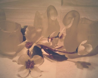 Three Satin Glass Swan Votives!!!  Was 9.50 Now 6.00