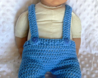 Newborn Baby Cute Blue Crochet Overalls..