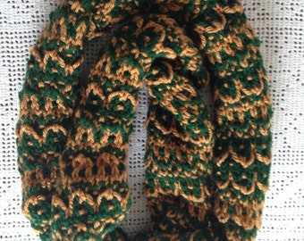 Mock Fair Isle Scarf, Dark Green and Gold Neck Warmer, Knitted long Scarf, Women Cowl